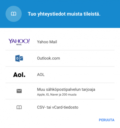 Yhteystiedot tuonti Gmail