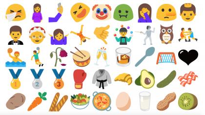 Unicode 9.0:n uusia emojeja Android Nougatissa.