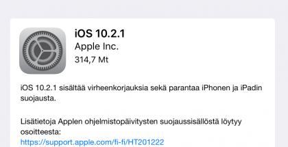 Apple julkaisi iOS 10.2.1:n.