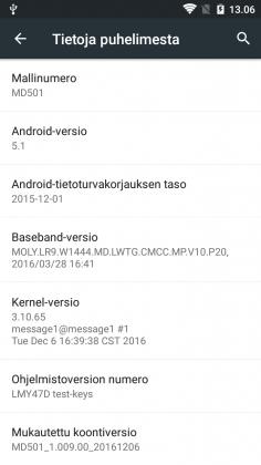 Viimeisimmillä päivityksillä varustettu DeWalt MD501 oli testin lopussakin yhä vain Android 5.1 -versiossa.