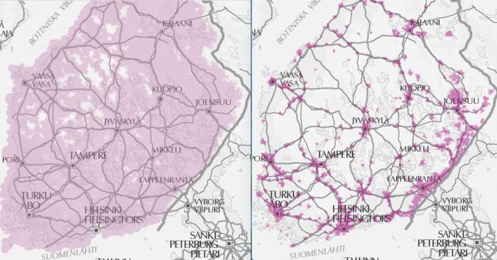 Vertailussa esitetyt DNA:n vasemmalla 800 megahertsin ja oikealla 1800 megahertsin 4G LTE -peittoalue kertovat alemman taajuuden tarpeesta muualla kuin kaupunkikeskustoissa.