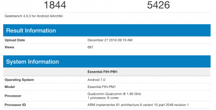 Essential FIH-PM1 GeekBench-testissä.