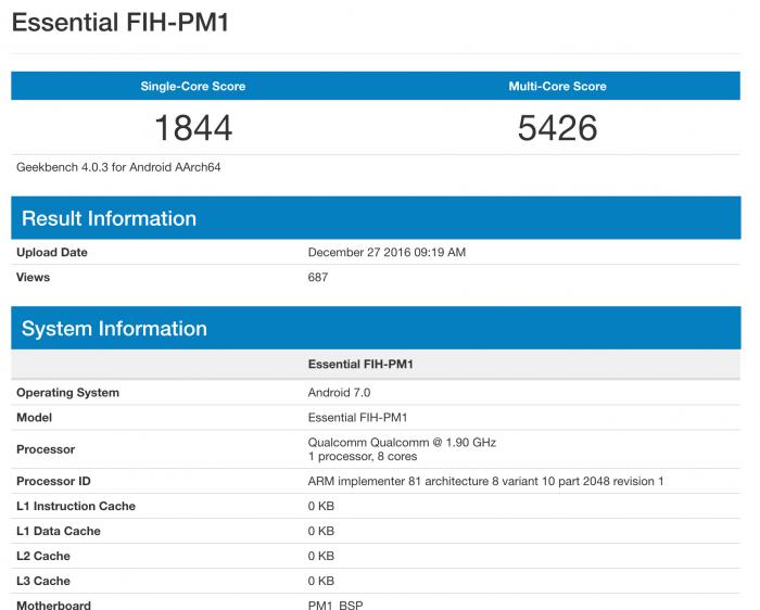 Essential FIH-PM1 GeekBench-testissä.