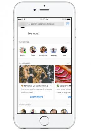 Mainokset näkyvät Facebook Messengerin kotinäkymässä.