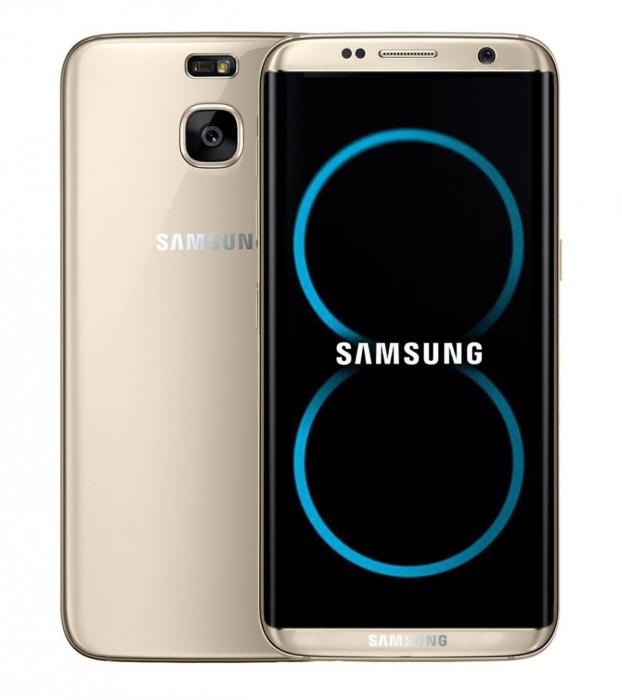 Galaxy S8:sta huhujen ja vuotojen perusteella luotu kuva.