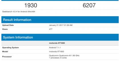 Motorola XT1650 GeekBenchissä.