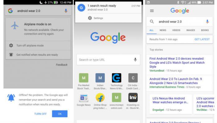Google-haut offline-tilassa jäävät nyt muistiin ja palaavat yhteyden jälleen muodostuttua.