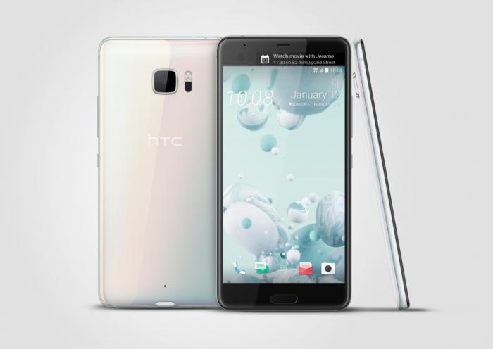HTC U Ultra valkoisena.
