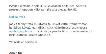 Älä lankea tällaiseen sähköpostiin. Linkit eivät oikeasti vie Applen sivuille.