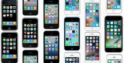 Joukko iPhone-puhelimia.
