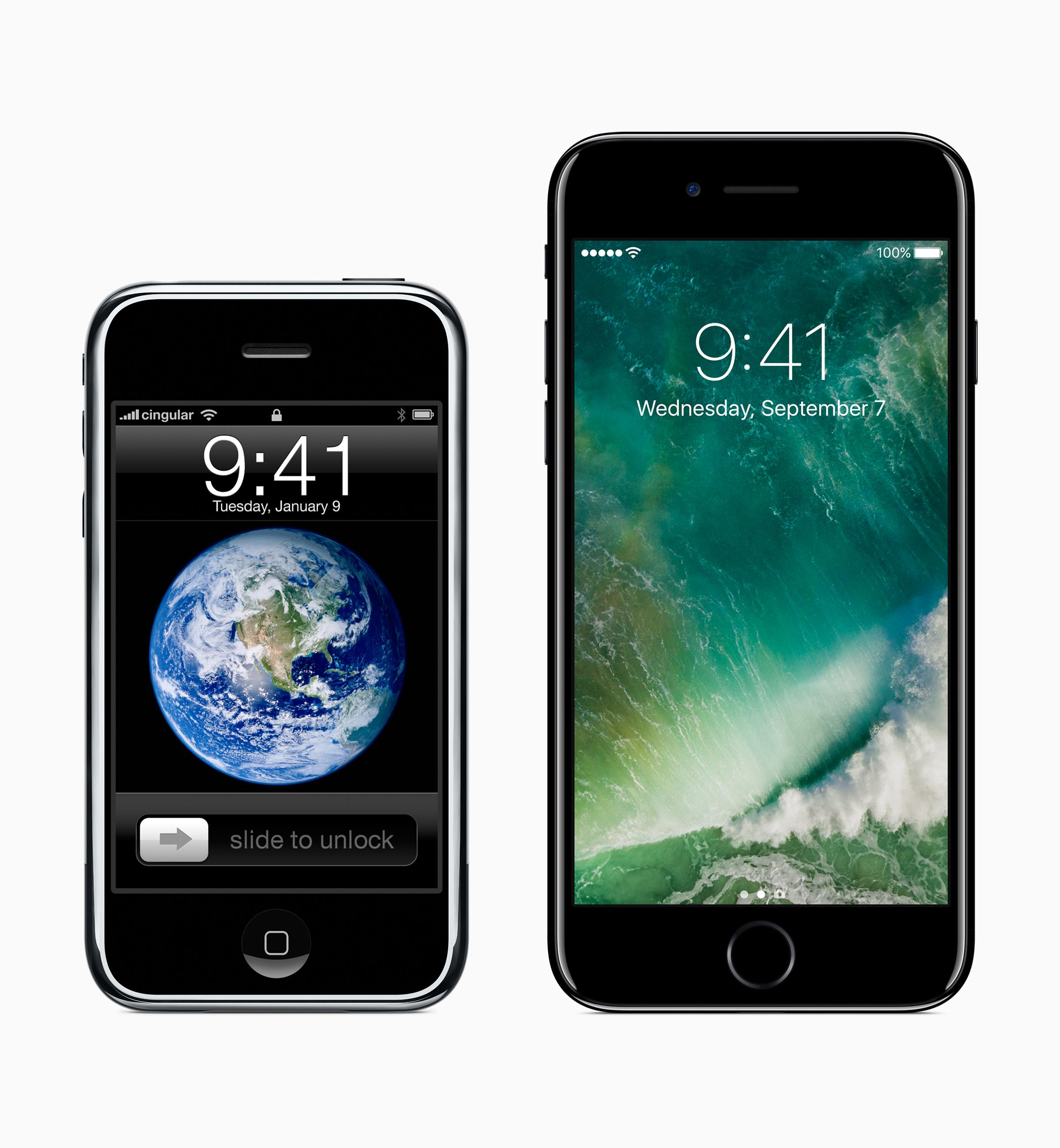 Ensimmäinen iPhone ja uusin iPhone 7.