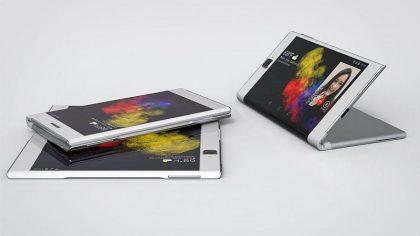 Lenovon aiemmin esittelemä konseptilaite. Myös Samsungin huhutaan kehittävän myös nyt tällaista näyttö ulospäin taittuvaa laitetta.
