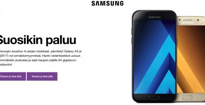 Esimerkiksi Sonera kertoo Samsungin uusista Galaxy A -sarjan puhelimista näin heti etusivullaan.