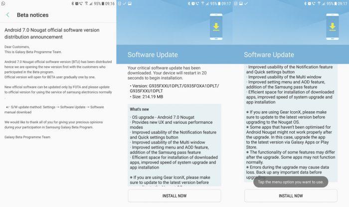 Samsung on julkaissut Nougat-päivityksen Galaxy S7 -puhelimille.