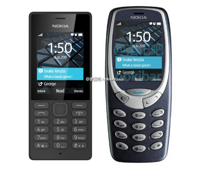 Vasemmalla Nokia 150, oikealla mitä ilmeisimmin muokattu Nokia 3310.