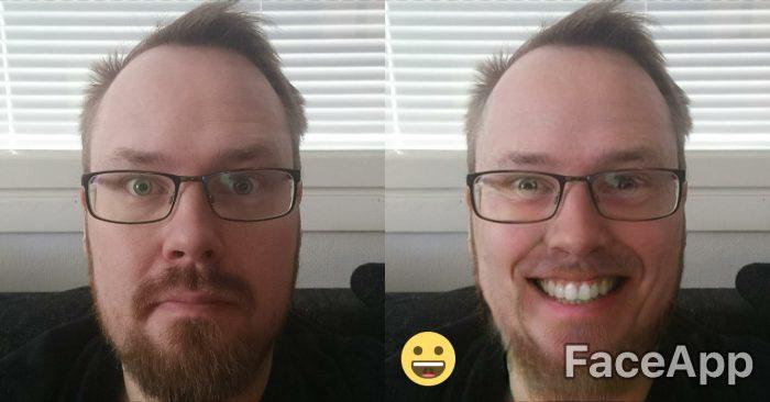 Pölähtäneen näköinen toimittajakin saa hymyn huulille FaceAppin avulla.