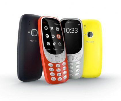 Uuden 3310:n neljä eri värivaihtoehtoa.