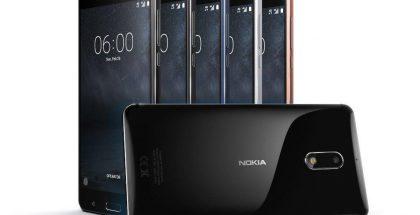 Nokia 6:n eri värivaihtoehdot. Etualalla kiiltävä musta, joka tulee eri hintaan ja vasta myöhemmin.