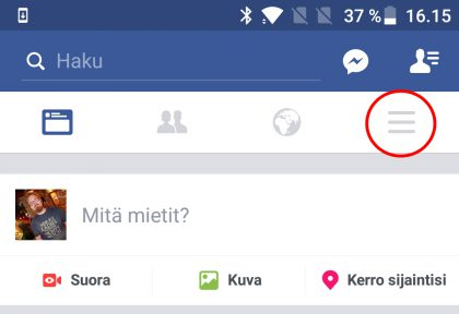 Facebook asetukset Android
