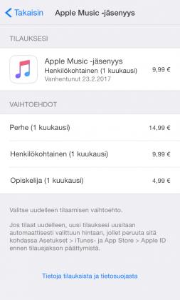 App Store tilaukset