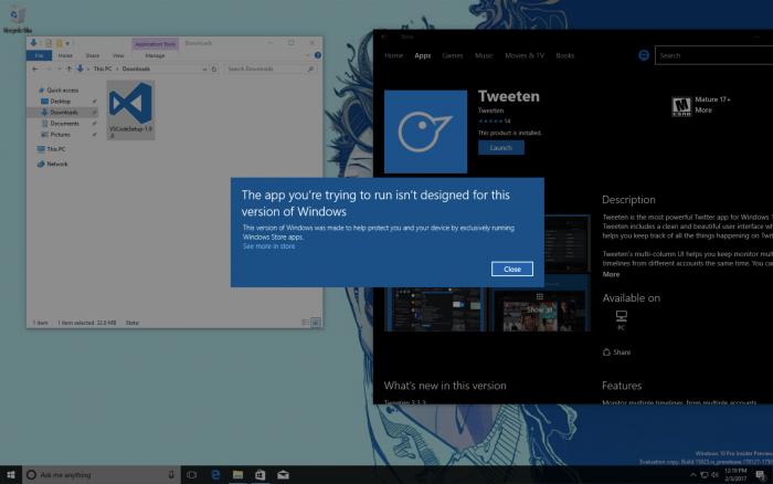 Windows 10:n uusi Cloud-versio ei tue kuin Windowsin Kaupasta saatavia sovelluksia.