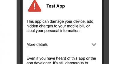 Yleensä Verify Apps keskeyttää asennuksen ja pyytää varmistamaan sen erikseen, jos todella haluaa.