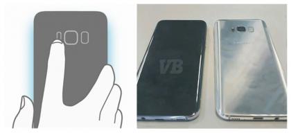 Sormenjälkitunnistin on Galaxy S8:ssa takana. Vasemmalla kuvassa käytetään myös takaa edelleen löytyvää sykemittaria.