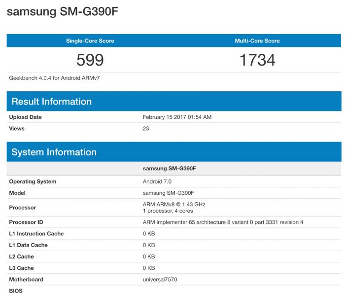 Samsung SM-G390F GeekBenchissä.