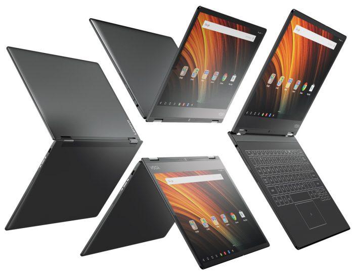 Lenovo Yoga A12:n näyttö kääntyy useisiin eri käyttöasentoihin. Kuvassa Gunmetal Grey -väri.