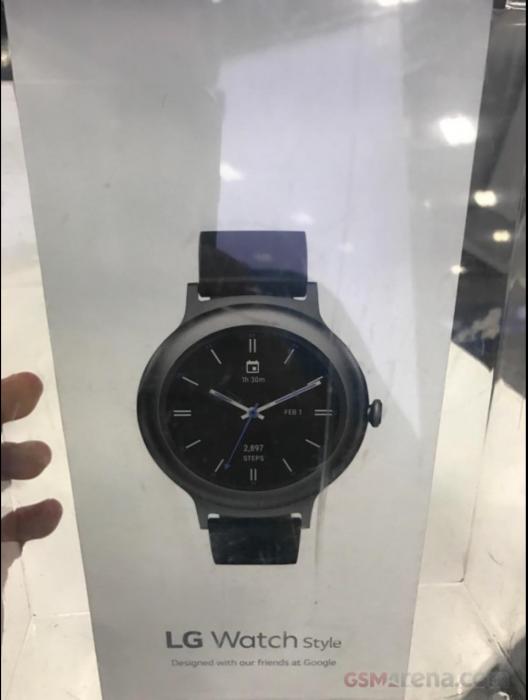 LG Watch Stylen myyntipakkaus GSMArenan julkaisemassa kuvassa.
