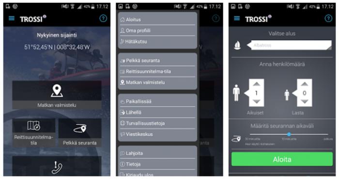 Trossi-sovellus Androidille.