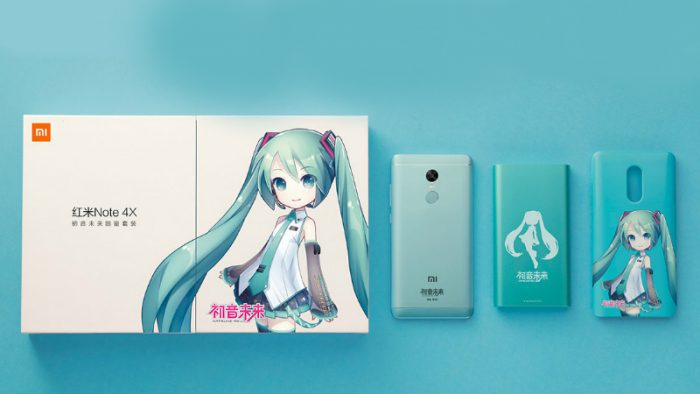 Hatsune Green -erikoisversio Xiaomi Redmi Note 4X:stä.