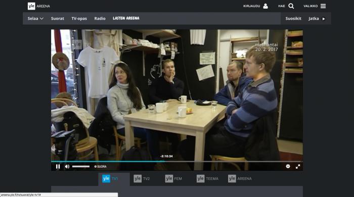 """Yle Areenassa voi nyt """"kelata"""" taaksepäin suoria tv-lähetyksiä."""