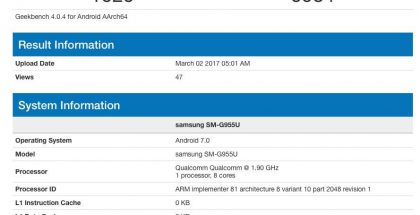 Galaxy S8 Geekbench Snapdragon