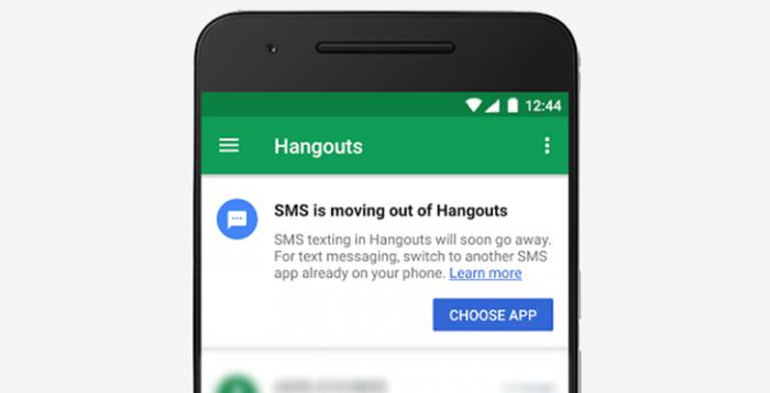 Google Hangouts ei pian enää tue SMS-viestejä. Kuva: Android Police.