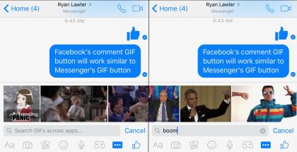 Facebook-kommenttien GIF-kuvien lisäys tulee toimimaan Messengerin tavoin.