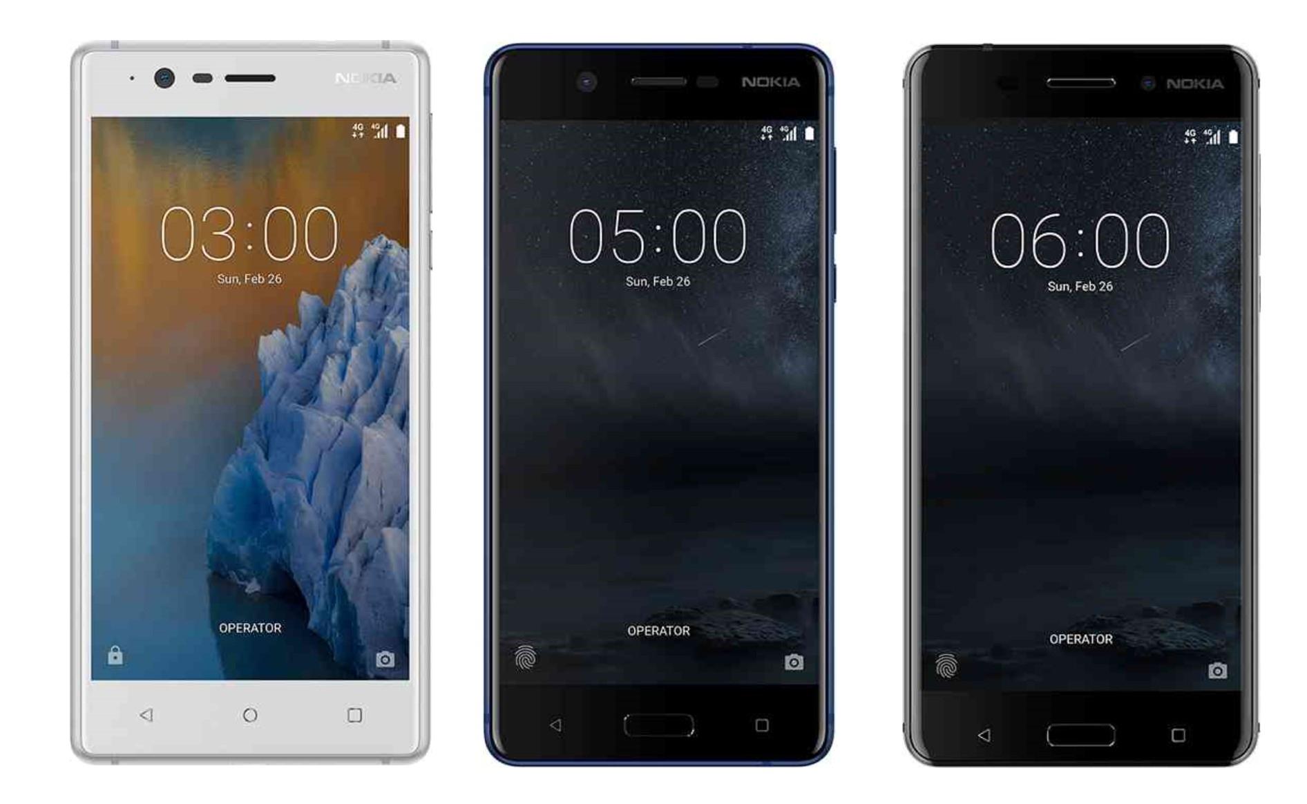 Nokia 3, Nokia 5 ja Nokia 6.