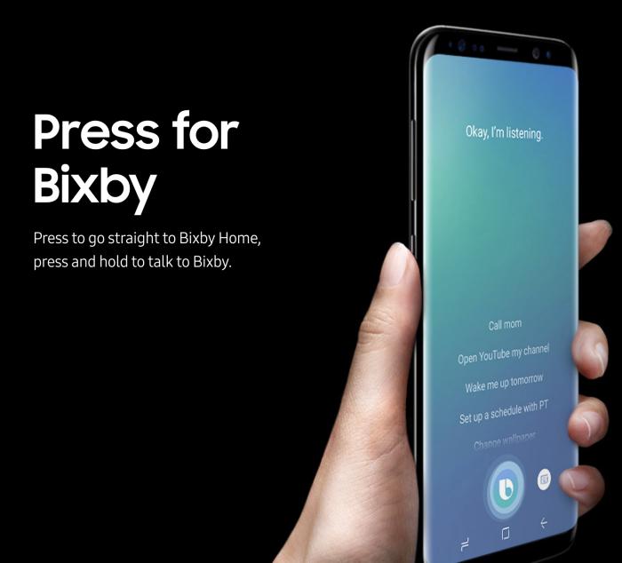 Bixbylle on oma painikkeensa Galaxy S8:n vasemmalla sivureunalla.