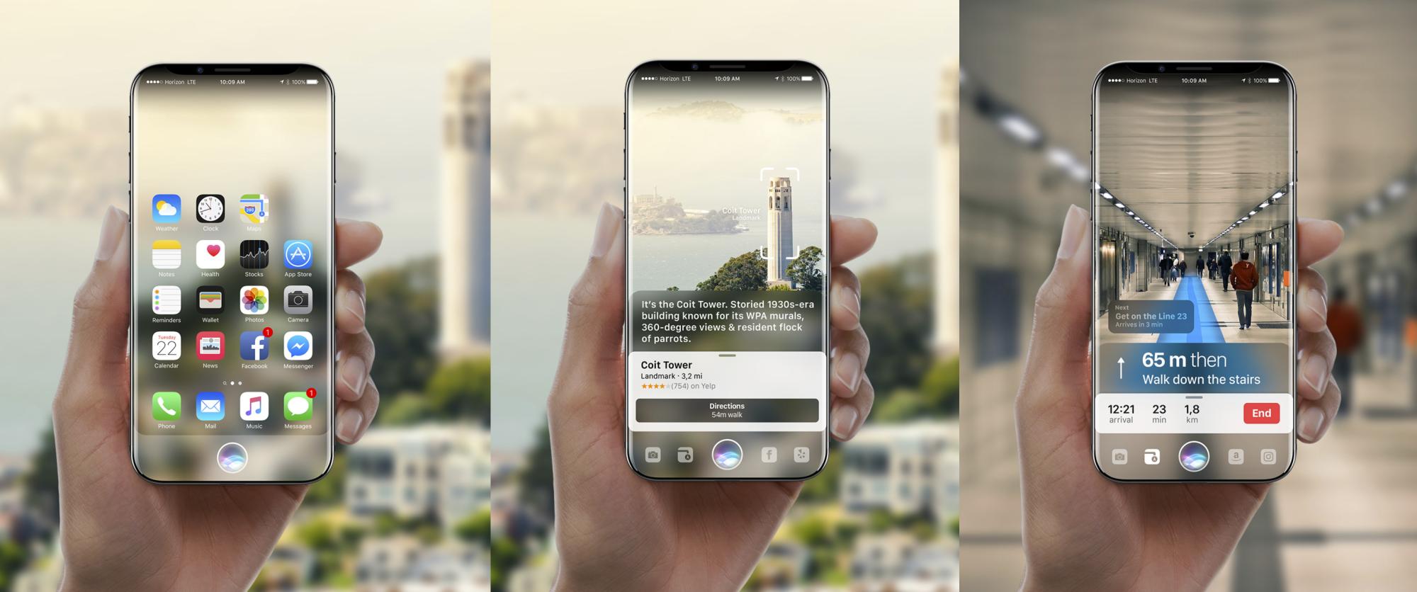 Gabor Baloghin kuvittelema konsepti tulevasta iPhonesta.