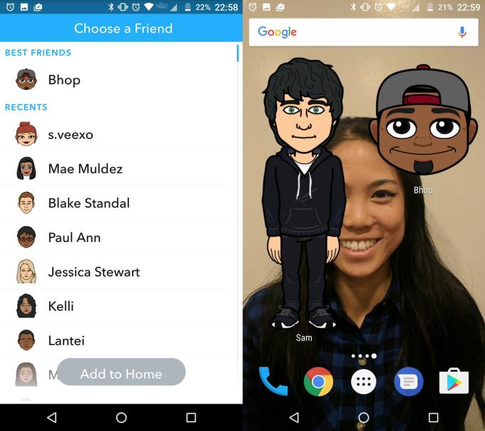Snapchatin Bitmoji-kuvakkeita pääsee nyt lisäämään pikavalinnoiksi.