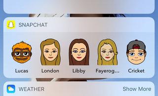 Apple-laitteissa Snapchatin Bitmojit tulevat nyt Tänään-näkymään widgettinä.