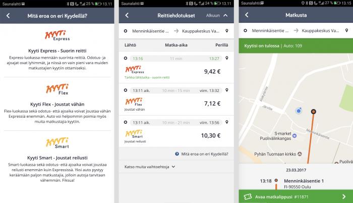 Uudistettu Tuup-sovellus toimii hyvin. Tilaaminen onnistuu kätevästi ja lähestyvän Kyyti-taksin näkee kartalta. Myös maksu hoituu sovelluksen kautta.