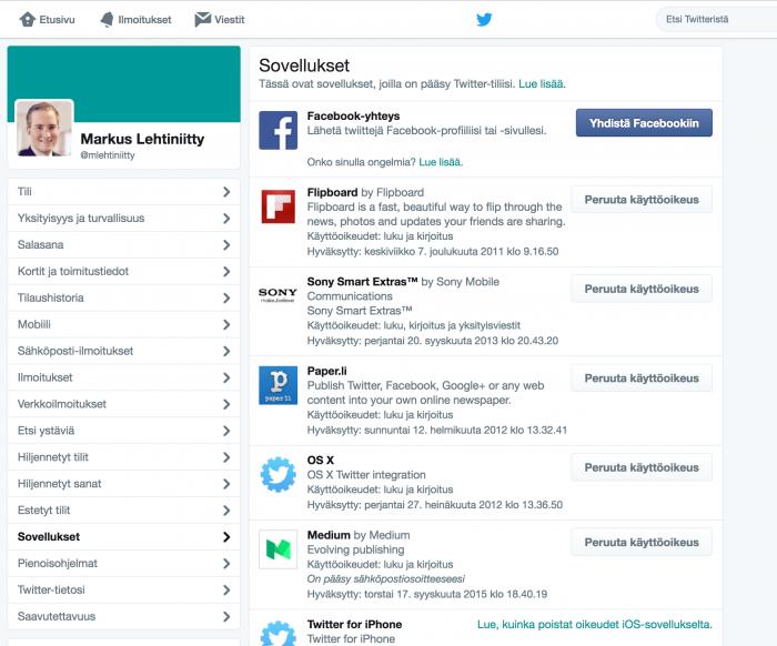 Twitterin käyttöoikeuksia voi poistaa asetusten Sovellukset-kohdasta.
