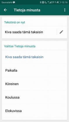 WhatsApp tuo tekstimuotoisen tilaviestin takaisin.