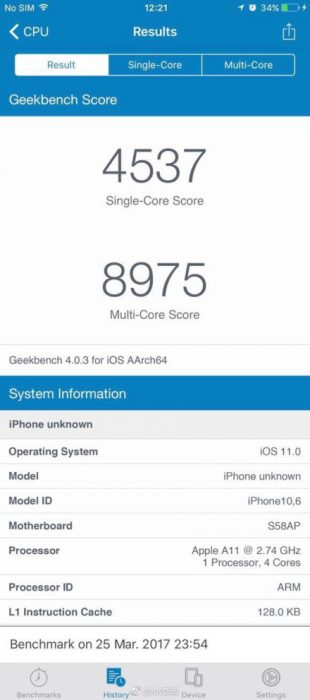 Väitetty tulevan iPhonen GeekBench-testitulos.