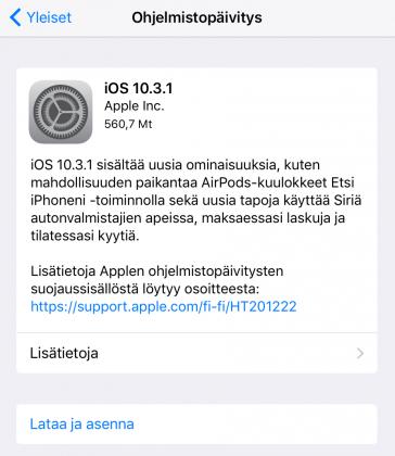 iOS 10.3.1 tuo vain korjauksia. Aiempi iOS 10.3 toi myös uusia ominaisuuksia.