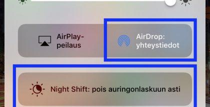 Jumittaminen onnistuu painamalla yhtäaikaisesti AirDrop-, Night Shift ja jotakin kolmesta alarivin painikkeesta ohjauskeskuksessa.