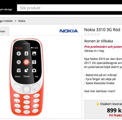 Jättiyllätys ruotsalaiskaupan sivuilla: uudesta Nokia 3310:stä versio 3G-tuella?