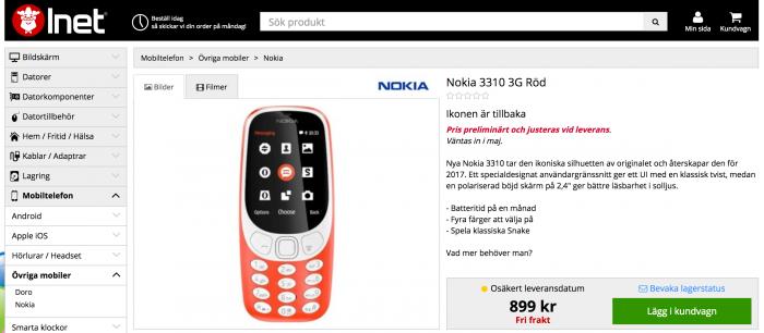 Nokia 3310 3G:llä ruotsalaisessa Inet-verkkokaupassa.