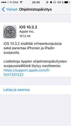 iOS 10.3.2 on vain pieni korjauspäivitys.